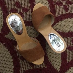 Michael Kors Shoes - MICHAEL KORS wooden platform heel slides